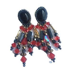 Vintage Beaded Dangle Earrings Red Black 90's